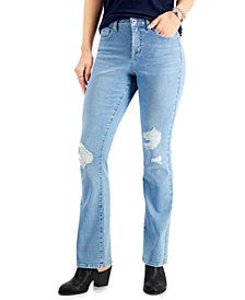 Style & Co Ripped High-Rise Bootcut Jeans, Created for Macy's