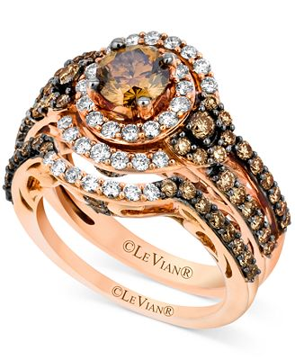 Le Vian Bridal Set, Chocolate Diamond (1-3/4 ct. t.w.) and White Diamond (1/2 ct. t.w.) Ring Set in 14k Rose Gold
