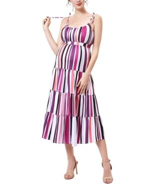 kimi + kai Katrina Maternity Ruffle Trim Tie Shoulder Dress