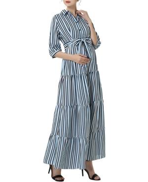kimi + kai Ruby Maternity or Nursing Maxi Shirt Dress