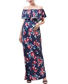 Brielle Maternity or Nursing Floral Print Maxi Dress