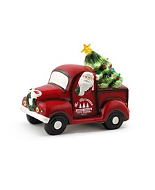 "10.5"" Lit Nostalgic Ceramic Truck with Tree"