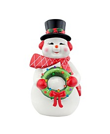 "22"" Lit Nostalgic Ceramic Figure- Snowman"