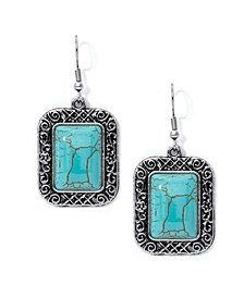 Simulated Turquoise in Fine Silver Plated Rectangular Cushion Wire Earrings