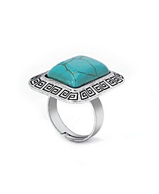 Simulated Turquoise in Fine Silver Plated Rectangular Greek Key Adjustable Ring