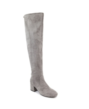 This fashionable over-the-knee stretch suede boot is as comfortable as it is trendy. Dress it up for a day around town or a for a casual night out.