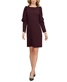 Puff-Shoulder Taper-Sleeve Shift Dress