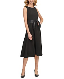 Faux-Leather-Belt A-Line Dress