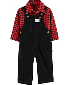 Baby Boy 2-Piece Plaid Button-Front Shirt & Corduroy Overall Set
