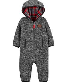Baby Boy Zip-Up Marled Fleece Jumpsuit