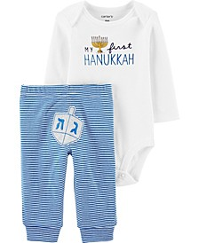 Baby Boy or Girl 2-Piece Hannukah Bodysuit Pant Set
