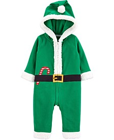 Baby Boy or Girl Christmas Elf Zip-Up Jumpsuit