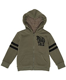 Little Boys Full Zip Hooded Sherpa Jacket
