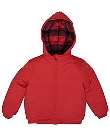 Little Boys Checkered Hooded Full Zip Reversible Puffer Jacket