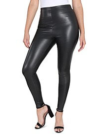 Tummy-Control Faux-Leather Leggings