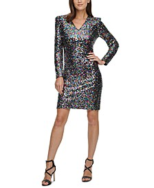 V-Neck Sequinned Sheath Dress