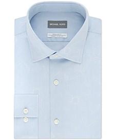 Men's Classic/Regular-Fit Non-Iron Airsoft Performance Stretch Leaf-Print Stripe Dress Shirt
