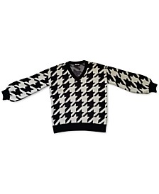 Oversized Houndstooth V-Neck Sweater, Created for Macy's