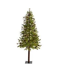 Wyoming Alpine Artificial Christmas Tree with 200 Clear Multifunction LED Lights and Pine Cones On Natural Trunk