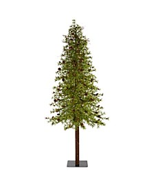 Wyoming Alpine Artificial Christmas Tree with 300 Clear Multifunction LED Lights and Pine Cones On Natural Trunk
