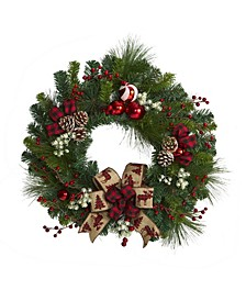 Christmas Pine Artificial Wreath with Pine Cones and Ornaments