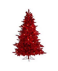 Flocked Fraser Fir Artificial Christmas Tree with 350 Lights, 33 Globe Bulbs and 748 Bendable Branches