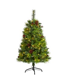 Montana Mixed Pine Artificial Christmas Tree with Pine Cones, Berries and 150 Clear LED Lights