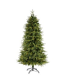 """Vancouver Fir """"Natural Look"""" Artificial Christmas Tree with 400 Clear LED Lights and 2158 Bendable Branches"""