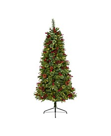 Norway Mixed Pine Artificial Christmas Tree with 350 Clear LED Lights, Pine Cones and Berries