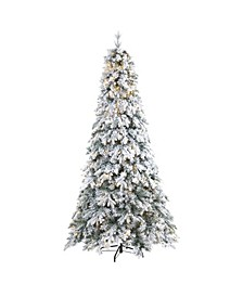 Flocked Vermont Mixed Pine Artificial Christmas Tree with 600 LED Lights