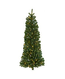 Flat Back Wall Hanging Artificial Christmas Tree with 50 Clear LED Lights