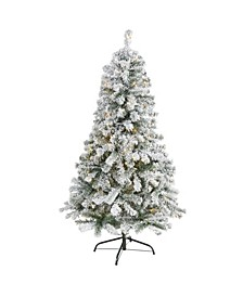 Flocked Rock Springs Spruce Artificial Christmas Tree with 150 Clear LED Lights