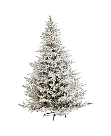 Flocked Fraser Fir Artificial Christmas Tree with 800 Warm Lights and 4892 Bendable Branches