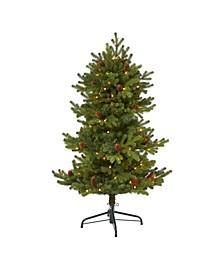 Yukon Mountain Fir Artificial Christmas Tree with 100 Clear Lights, Pine Cones and 386 Bendable Branches