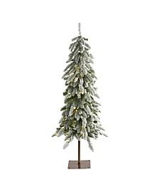 4.Flocked Washington Alpine Christmas Artificial Tree with 100 Warm LED Lights and 285 Bendable Branches