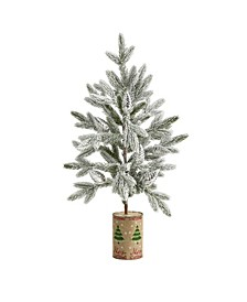 28In. Flocked Christmas Artificial Tree in Decorative Planter