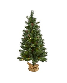 "Fraser Fir ""Natural Look"" Artificial Christmas Tree with 50 Clear LED Lights, Pinecones, A Burlap Base and 90 Bendable Branches"