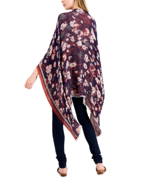 Vince Camuto Floral Jacquard Wrap Topper In Purple