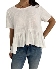 Juniors' Lace-Trim Flounce-Hem Top