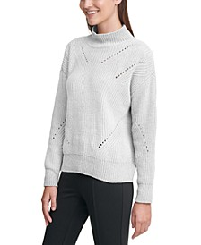Chenille Mock-Neck Pointelle Sweater