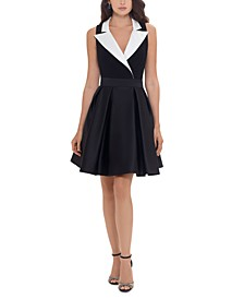 Fit & Flare Tuxedo Dress