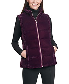 Velvet Mock-Neck Zip-Up Vest