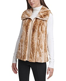 Marled Faux-Fur Braid Sweater Vest