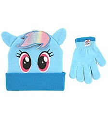 Toddler Girls My Little Pony 2 Piece Knit Cuff Hat and Matching Mittens Set