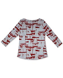 Cotton Sailboat-Print Top, Created for Macy's