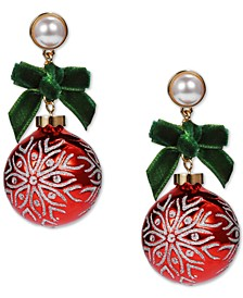INC Two-Tone Imitation Pearl & Bow Ornament Drop Earrings, Created for Macy's