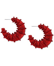 "INC Silver-Tone Medium Red Bead & Thread-Wrapped C-Hoop Earrings, 1.73"", Created for Macy's"