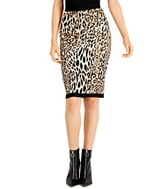 Animal-Print Jacquard Sweater Skirt, Created for Macy's
