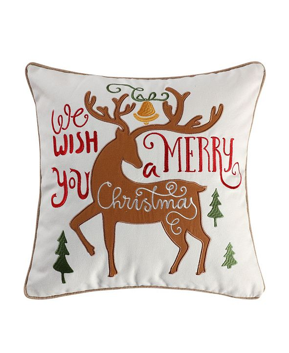 "Levtex Tinsel 18"" Embroidered Merry Reindeer Decorative Pillow"