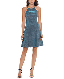 Betsy & Adam Metallic Fit & Flare Dress